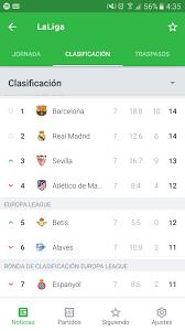 como esta la tabla de la liga española , .. - Brainly.lat