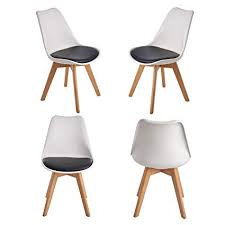 set of 4 white padded dining chairs eleranbe mid century modern dining room wooden legs