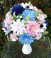 Paper Flower Bouquet Etsy Paper Bouquet Paper Flower Bouquet Shabby Chic Bouquet Navy And Pink Bridal Bouquet Wedding Bouquet Ready To Ship