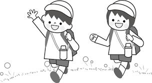 Ilustration 遠足 イラスト 白黒