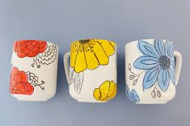 customize coffee mugs with hand drawn flowers