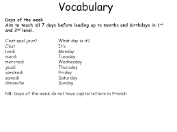French Days Of The Week French Early Level Les Jours De La Semaine Ppt Download