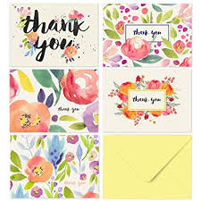 Thank You Cards Baby Shower Amazon Com Thank You Cards 40 Floral Thank You Notes For Your