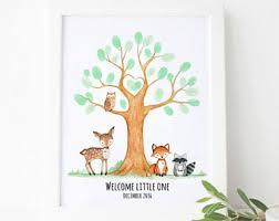 Fingerprint Tree  EtsyFingerprint Baby Shower Tree
