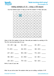 Adding Multiples of 10 - Using a 100 Square - TMK Education
