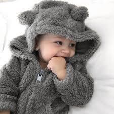 newborn infant baby boys girls fur hoo winter