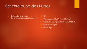 Kurstitel Name Des Dozenten Kursnummer Beschreibung Des Kurses