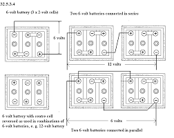 unph32 5 see diagram 32 5 3 4 cell connections of 6 volt batteries the lead acid cell has a voltage of two volts when in average working condition