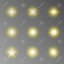 Camera Flash Light Effect Golden Twinkle Sparkle Vector Isolated On Transparent Background
