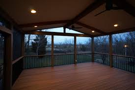 deck floor lighting. Traditional Gable Roof And With Sloping Ceilingplus Recessed Ceiling Lighting For Fan Also Wood Deck Floor R
