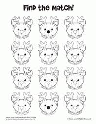 activity pages to print. Simple Print Christmas Reindeer Matching Activity In Pages To Print
