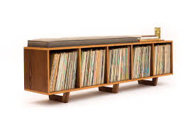 vinyl lp storage bench lofi edition with mid century modern
