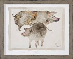 limited edition print of jacques pepin s original animal art pigs for restaurant or pub