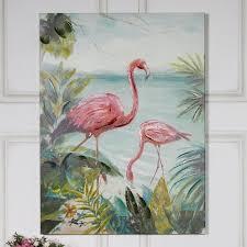 large bright pink flamingo wall canvas