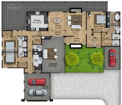 modern floor plans. Mid-Century Modern House Plan With Courtyard - 430010LY Floor Main Level Plans