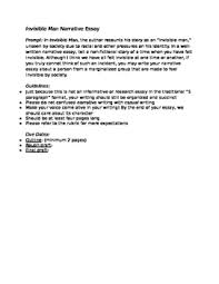 invisible man narrative essay guidelines and rubric by alexandra  invisible man narrative essay guidelines and rubric