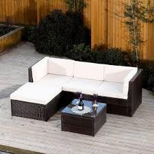 milano modular rattan corner sofa set in brown with light cushions