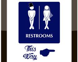 restroom directional sign. Funny Directional Bathroom Sign / Wedding Event Decor Restroom Print Custom Colors
