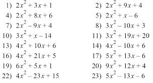 factorising quadratics worksheet