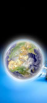 Light bulb, Earth, blue background ...