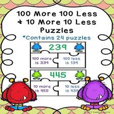 10 More 10 Less Anchor Chart Math Enrichment Activities 10 More 10 Less Worksheets Tpt