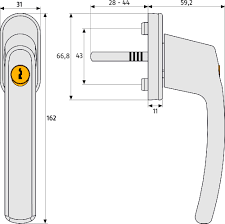 lockable window handle fg  technical drawing