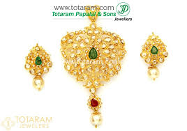 22k gold uncut diamond pendant earrings set with ruby emerald south sea pearls