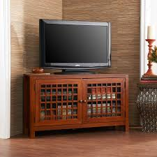 Short Media Cabinet Black Wooden Cabinet With Storage Having Double Glass Doors