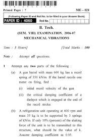 Uptu B Tech Question Papers Me 021 Mechanical Vibration Aglasem