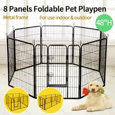 48 tall dog playpen crate fence pet play pen exercise cage 8 panel folding gate 657228020168