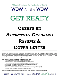 attention grabbing resume cover letter job search skills resume