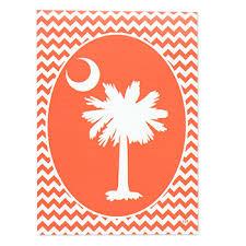 Custom Decor Inc Designables Extraordinary Orange Palmetto Chevron Yard Flap