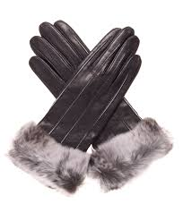 women s italian cashmere lined leather gloves with rabbit fur cuff