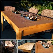 patio table with wine cooler wonderfuldiy