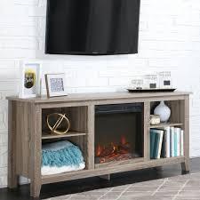 essentials driftwood fire place entertainment center