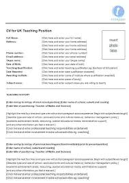 Cv Template Education Cv Template For Teaching Position