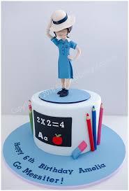 Girls Birthday Cake Featuring A Detailed Schoolgirl Figurine School