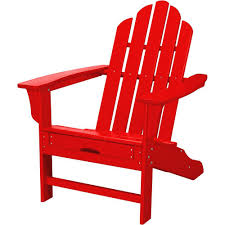 hanover all weather patio adirondack chair with hide away ottoman in sunset red
