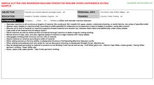 Slitter And Rewinder Machine Operator Resume | Resumes Templates ...