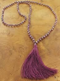 long metallic crystal beads tassel
