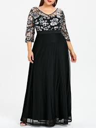 plus size long black dresses 2018 plus size sequined floral sheer prom dress black xl in dresses