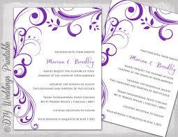 Wedding Invitations Templates Purple Wedding Invitation Templates Purple Scroll Etsy