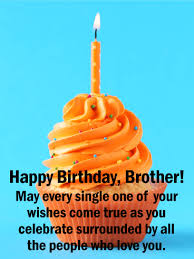 Orange Cupcake Happy Birthday Card For Brother Birthday Greeting