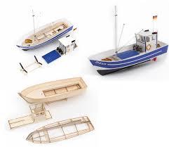 aeronaut 309100 mowe 2 fishing boat wooden kit suitable for display or rc