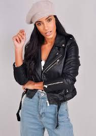 leather look cropped biker jacket black leather look cropped biker jacket black