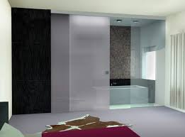 white frosted glass sliding shower doors for modern bathroom ideas with grey floor