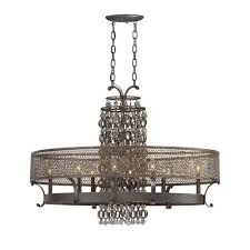 ajourer french bronze with jeweled accents eight light oval chandelier