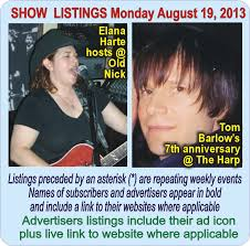 130819 Mon. August 19, 2013 Toronto Moon show listings | Toronto Moon  Magazine