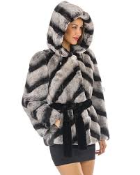 best fur jackets penelope rex rabbit fur jacket with belt in chinchilla print