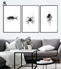 jellyfish wall art canvas painting posters living room wall decor black white zebras octopus jellyfish giraffes whale swallows jellyfish metal wall art